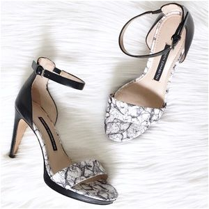 French Connection NATA Black White Heeled Sandals